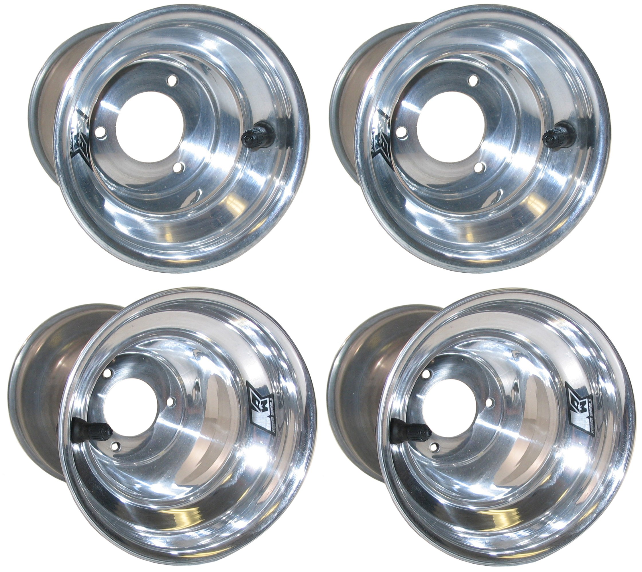 NEW KEIZER KW2 6'' ALUMINUM WHEEL SET FOR DIRT KARTING & QUARTER MIDGETS, POLISHED FRONTS & REARS, FOR DIRT GO CARTS, DIRT CHAMP KARTS, DIRT QUARTER MIDGETS, & SIMILAR APPLICATIONS