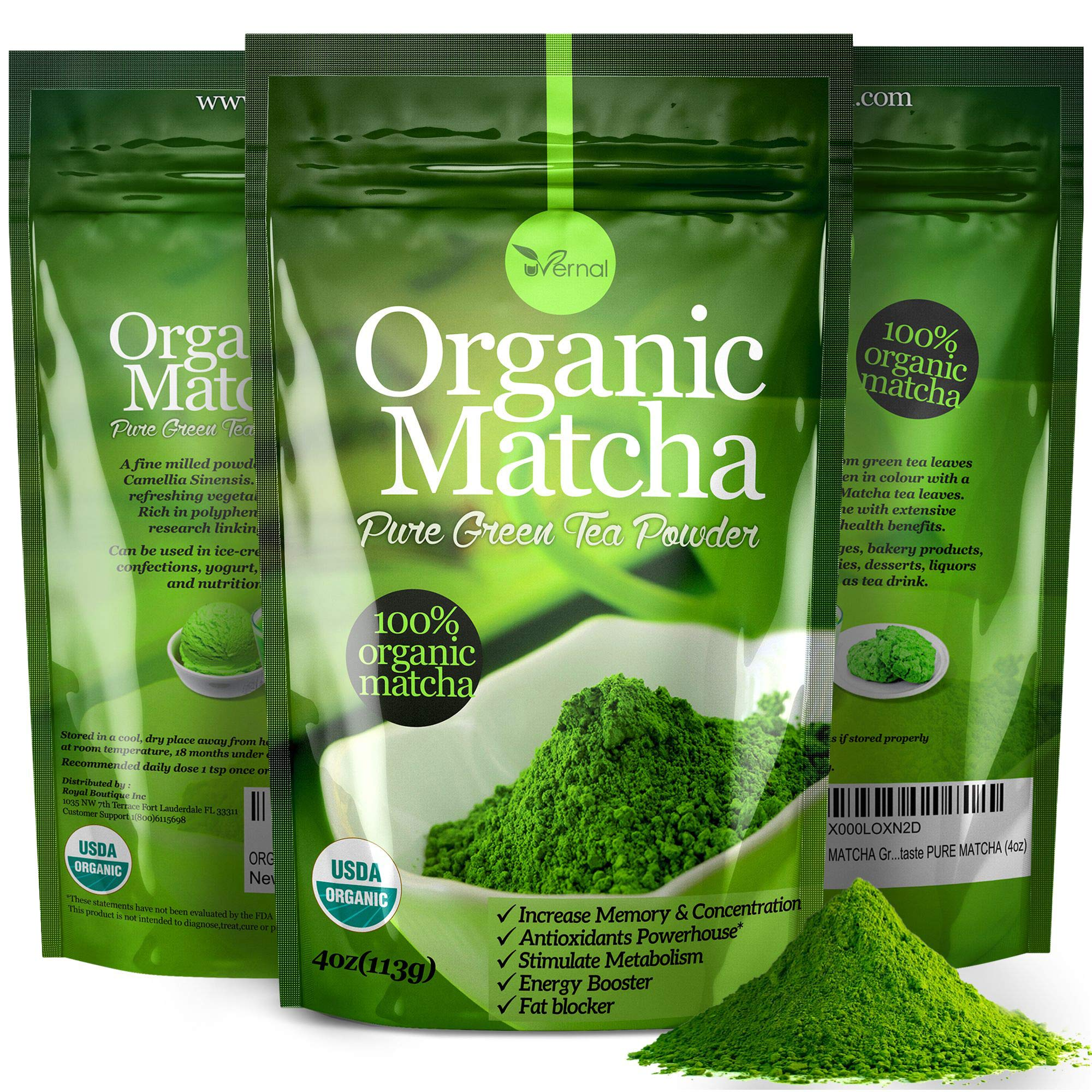 Organic Matcha Green Tea Powder USDA Certified - 100% Pure Macha Ceremonial and Culinary Grade for Smoothies and Baking - 4oz 113g by uVernal