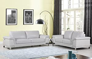 Blackjack Furniture 411 LIGHT GRAY 2PC 411-Light-Gray-2PC Upholstered Sofa Set