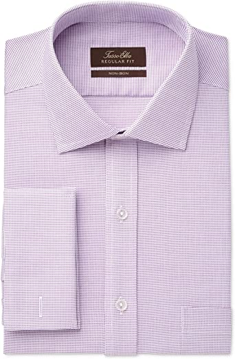 $125 Tasso Elba Men Regular-Fit Blue Gray Long-Sleeve Button Dress Shirt 15-15.5