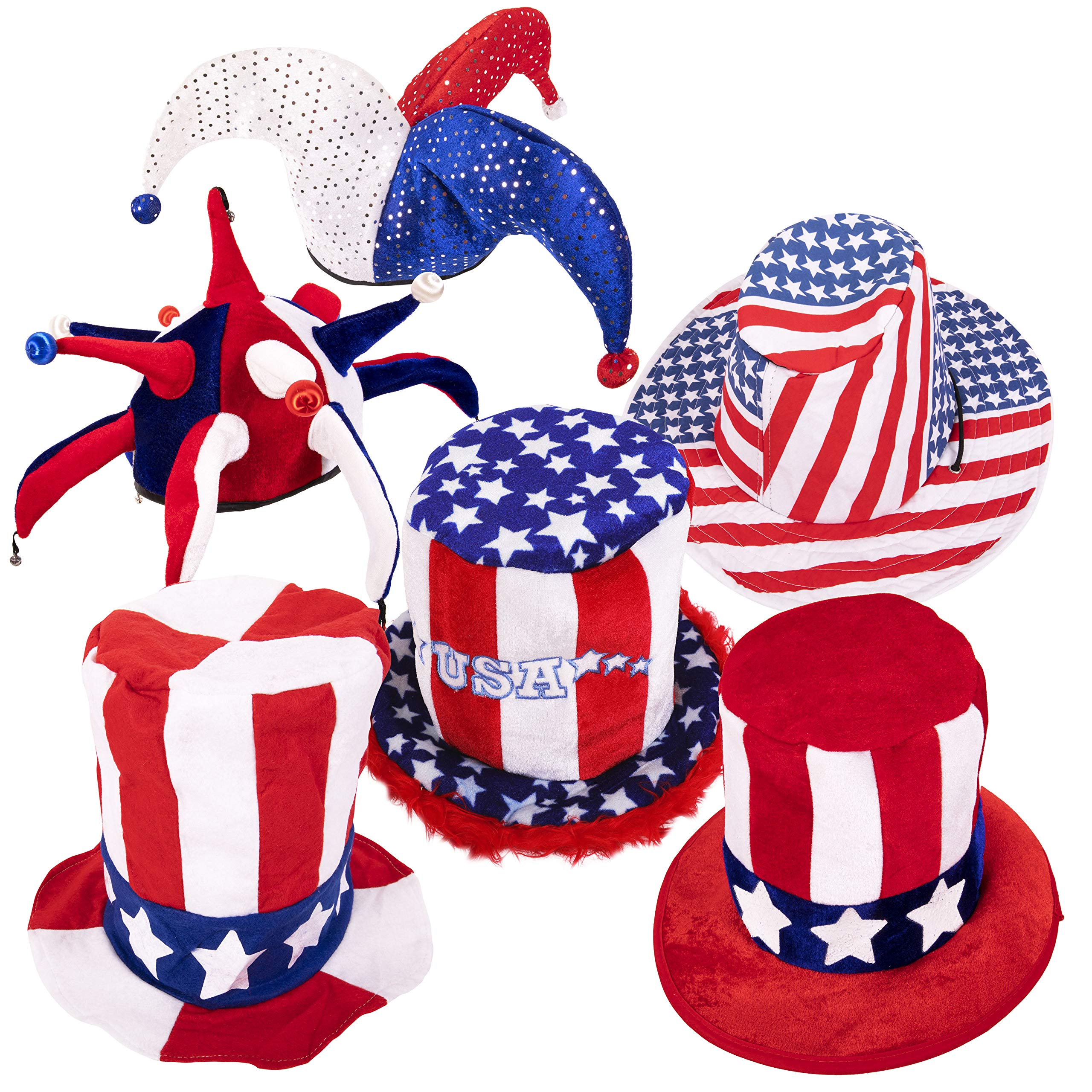 Narwhal Novelties Adult One Size Patriotic Hat Collection (6-Pack) Six USA American July 4th Theme Hats