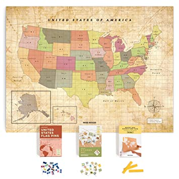 Miss Wood Push Pin United States Travel Map Kit Includes: Cork US Map,  State Flags and Travel Stickers, for Travelers (L (17.7 x 23.6 inches), Old  ...