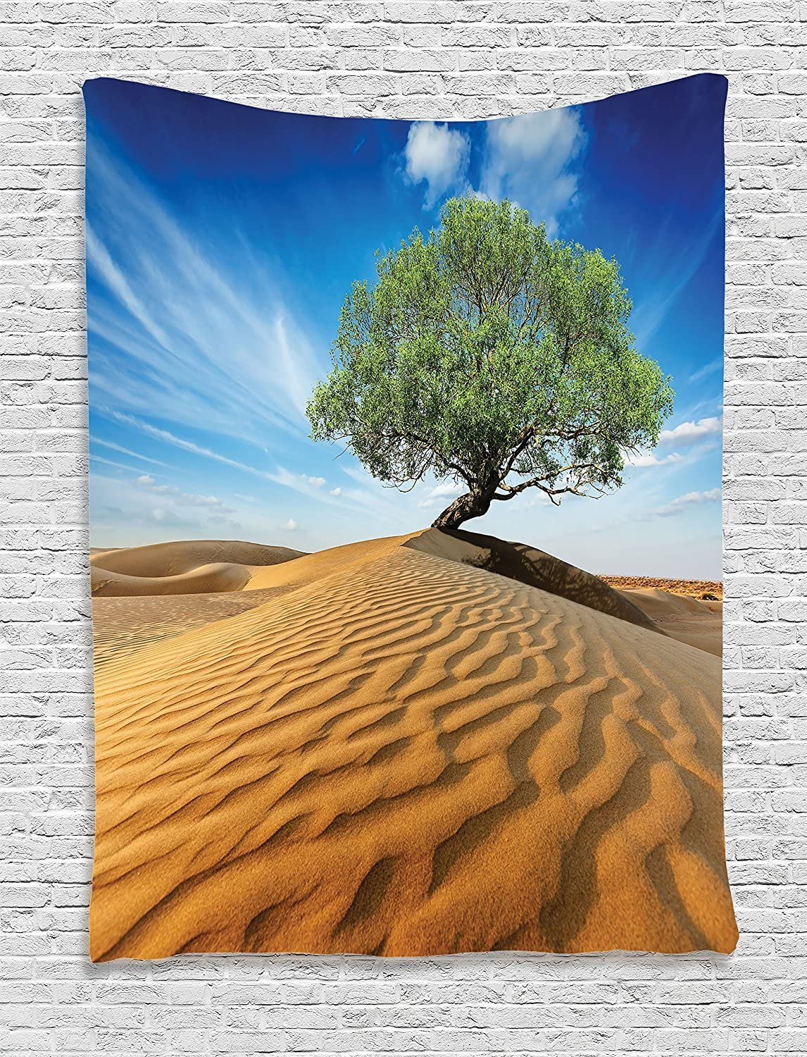 JAKE SAWYERS Tree Life Decor Collection, Lonely Tree in The Desert Dunes Over Sand Dramatic Dry But Alive Nature Photo, Bedroom Living Room Dorm Wall Hanging Tapestry, Blue Cream Green