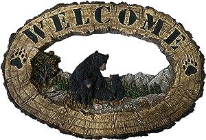 Bear Decor Welcome Home Sign - Outdoor Wall Decor Black Bear Wall Decorations - Rustic Home Decorative Sign Family Wall Plaque Black Bear Decor - Bearfoot Bears Wildlife Decor Wall Art Plaque 14.25