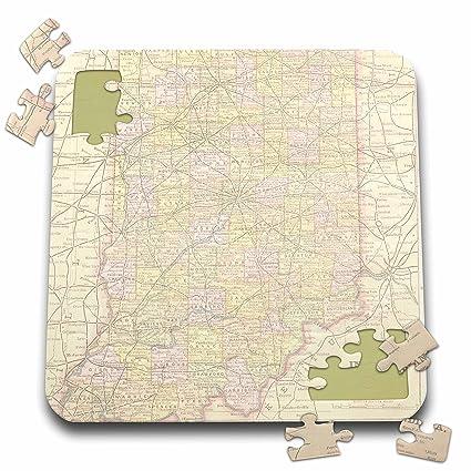 Amazon.com: 3dRose PS Vintage - Vintage Indiana Map USA ...