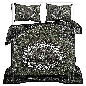 Grün Star Mandala Bettbezug Star Mandala Bettbezug Baumwolle Queen