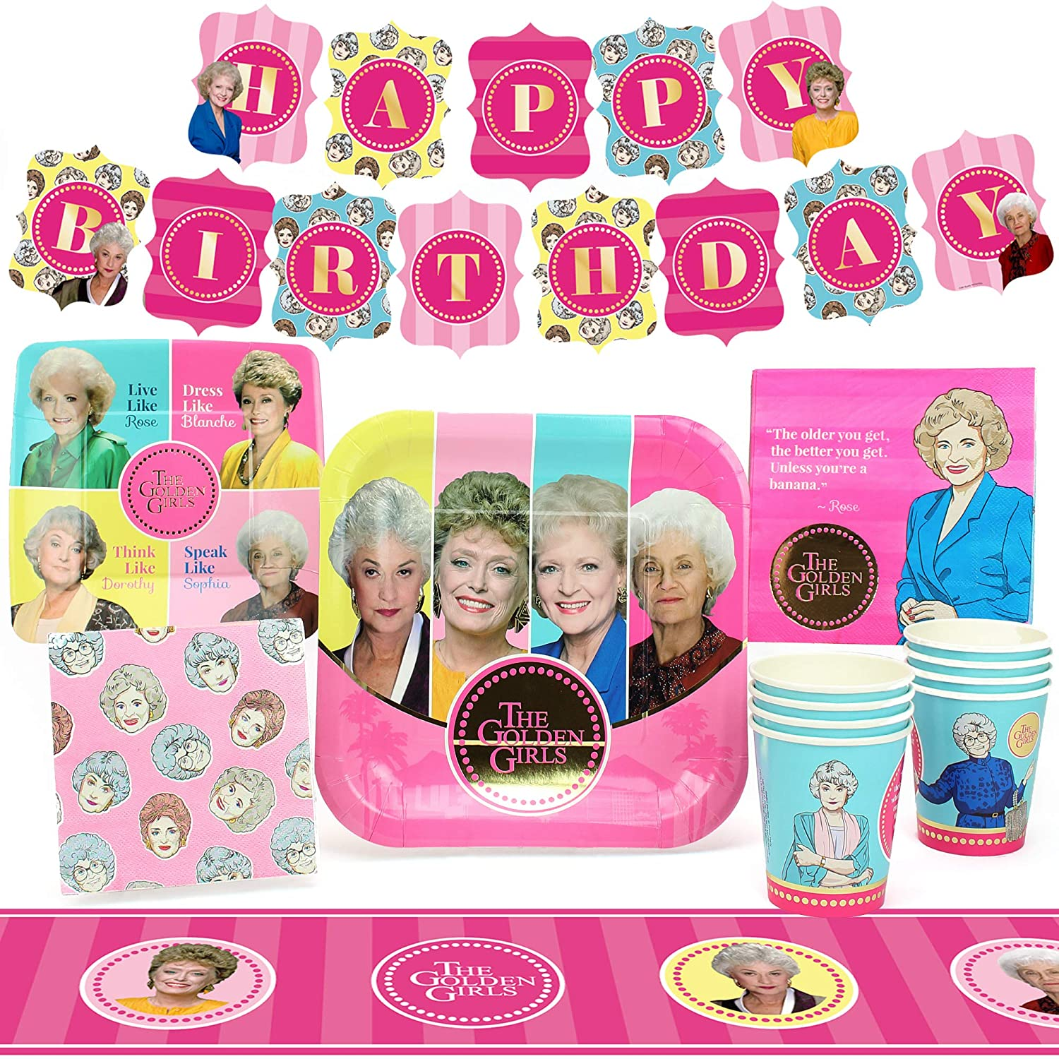 Amazon Com Golden Girls Party Supplies Standard Birthday Party Decorations With Happy Birthday Banner 58 Piece Set 40th Birthday Decorations 50th Birthday Decorations For Women Bridal Shower Decorations Toys Games