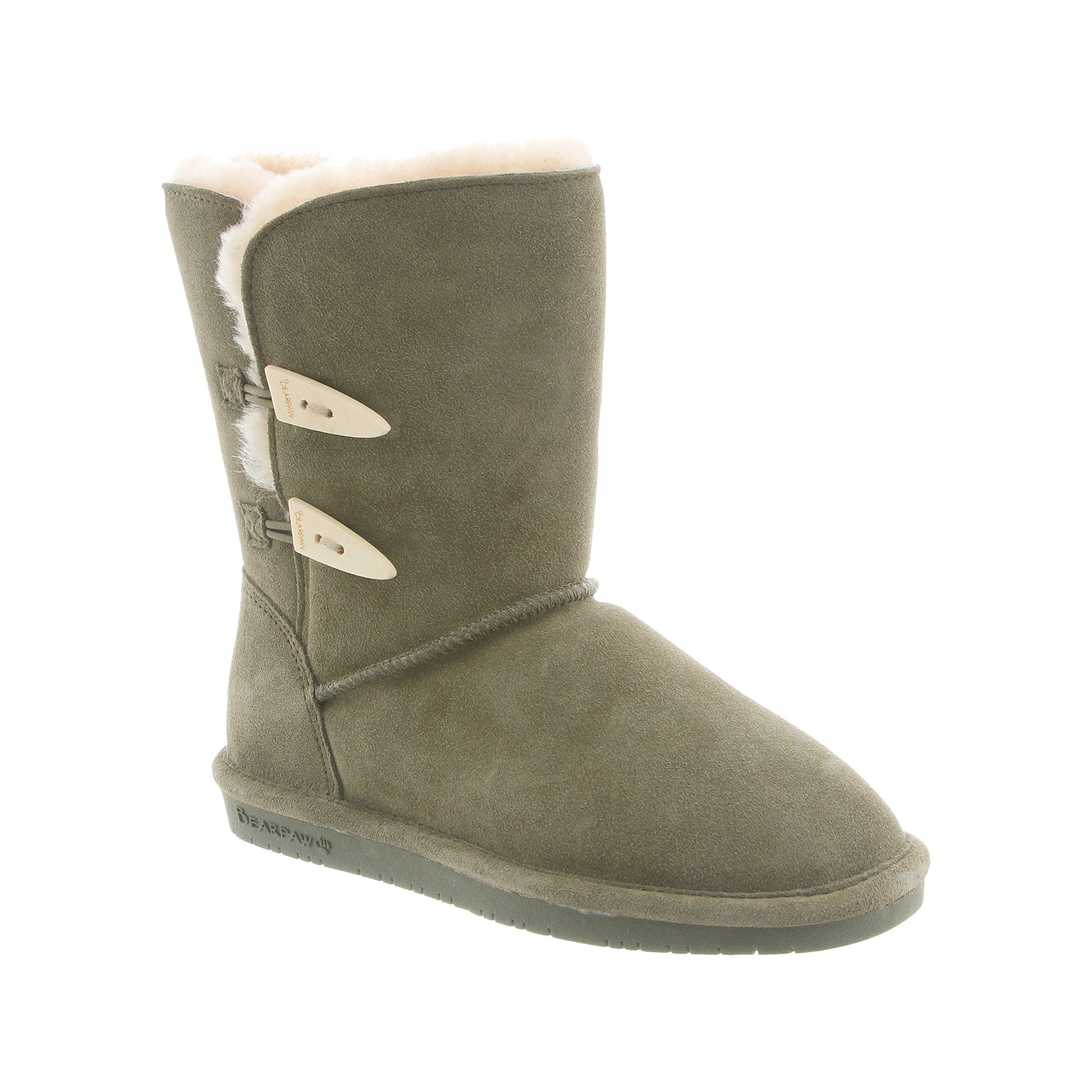 BEARPAW Women's Abigail Shearling Boots 682-W (7 B(M) US, Olive)