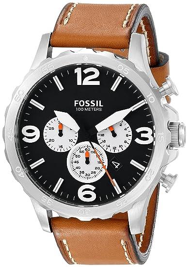 Fósil de hombre jr1486 Nate reloj de acero inoxidable con banda de cuero marrón: Amazon.es: Relojes