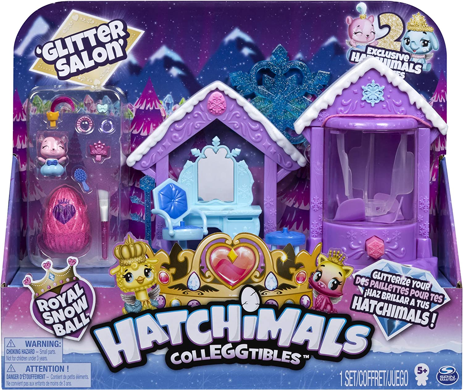 HATCHIMALS 6047221 CollEGGtibles, Season 6, Glitter Salon Playset with 2 Exclusive HATCHIMALS, for Kids Aged 5 and Up, Multicolour