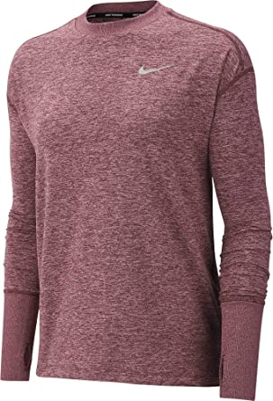 314e3554 Nike Women's Element Long Sleeve Running Shirt (El Dorado/Plum Dust, X-