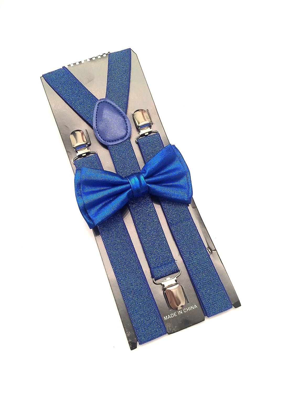 METALLIC Blue SUSPENDER and BOW TIE Matching SET Tuxedo Wedding Suit