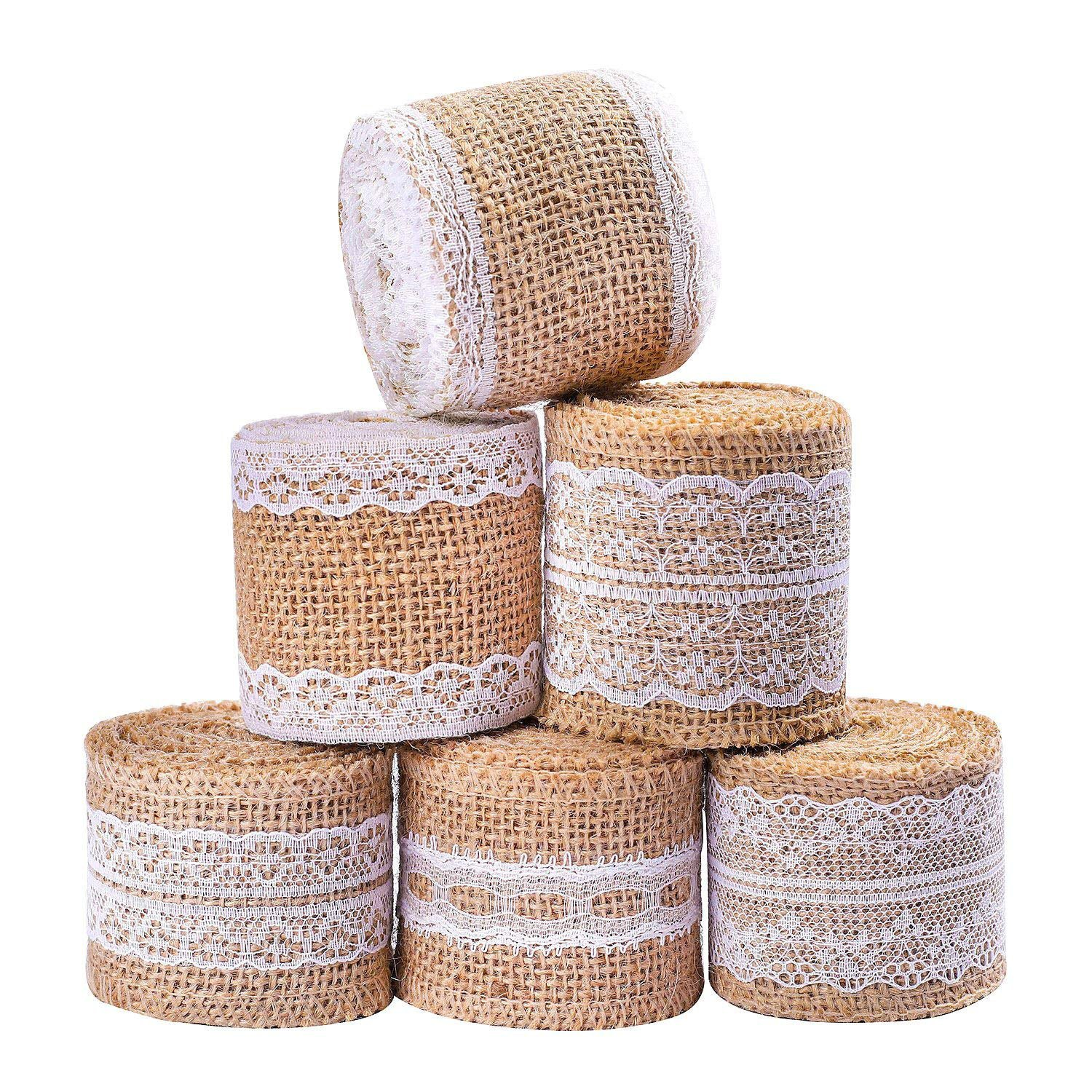 Whaline 13 Yards/ 473 inches Burlap Ribbon Roll with White Lace Craft Ribbon Roll for DIY, Home Decor and Gift Wrap, 6 Rolls