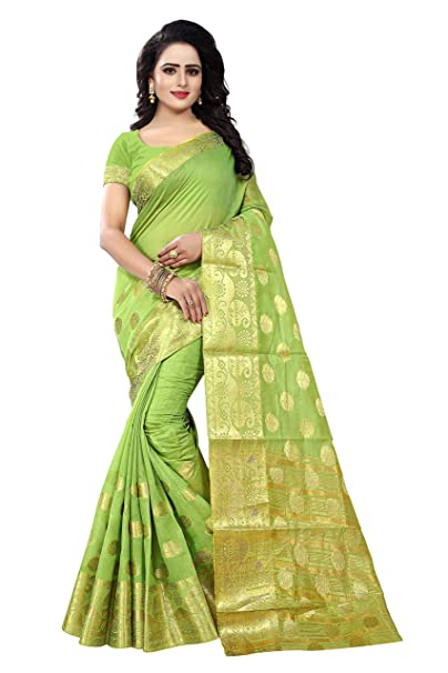 49220668c8750 Ecolors Fab Banarasi Cotton with Blouse Piece Saree (Gokul Green Free Size)