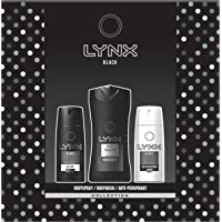 Lynx  Black Trio Men's Gift Set with Body Wash, Body Spray and Anti-Perspirant - Gift Set for Him