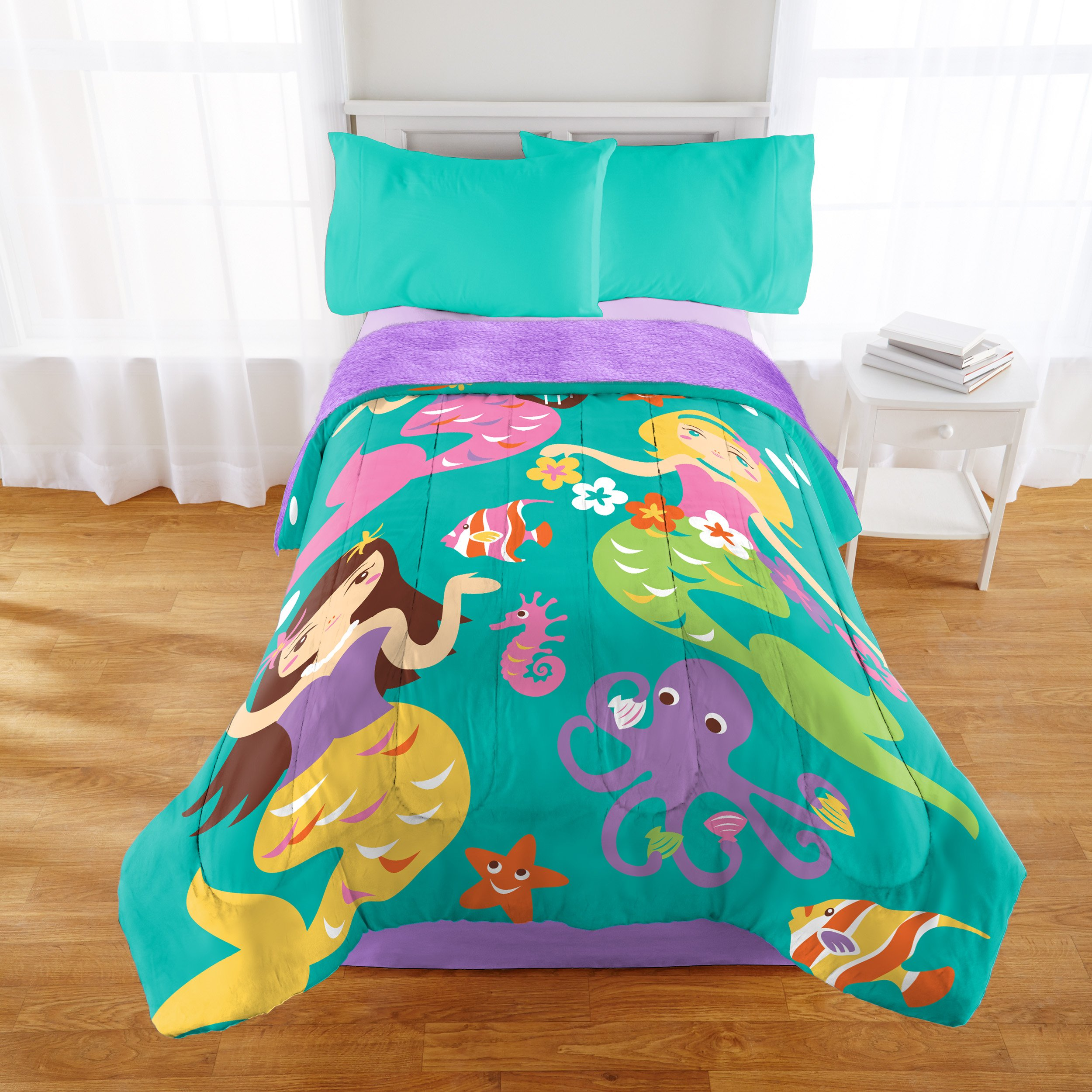 Ocean Mermaids and Sea Friends Purple and Teal Sherpa Back Comforter Bed Spread