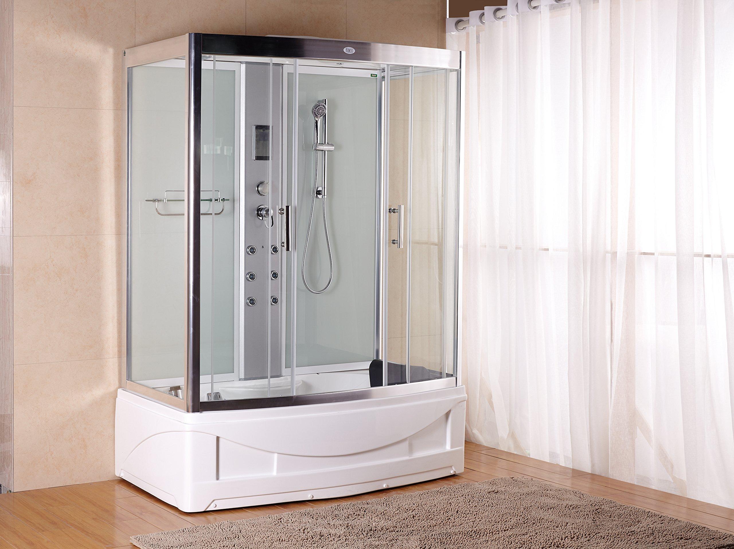 Luxury KBM 9001 Pure White Bathtub Faucet, Steam Shower Enclosure unit (60'' x 35'') with 6 Body massage Jets