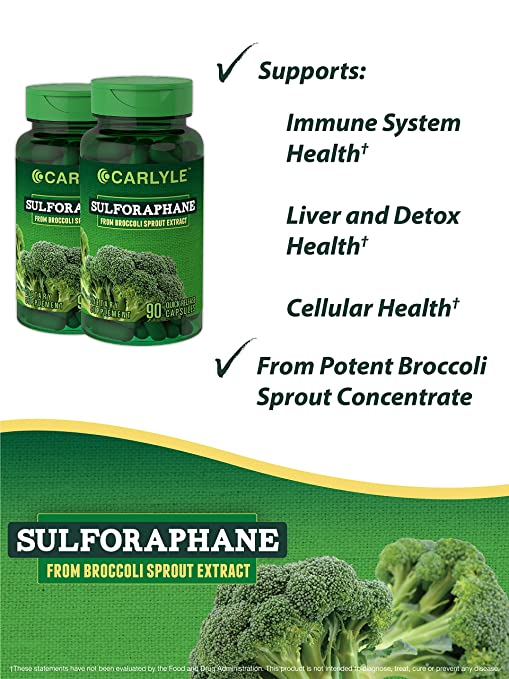 Carlyle Sulforaphane Broccoli Sprout 180 Capsules | Supports Healthy Liver  Function | Non-GMO and