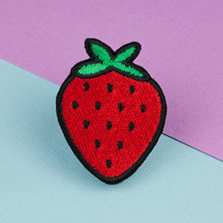 Strawberry iron on patch hatty hats embroidery.