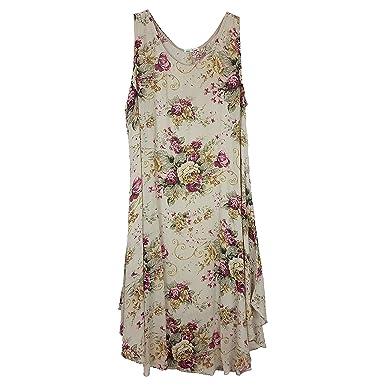 2e6a125d2f3 Wolfairy Womens Plus Size Dress Tunic Italian Lagenlook Summer Floral Linen  Vintage Asymmetric Beige 24