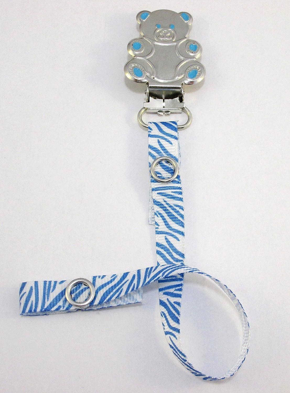Chupete Chupete Chupete clip para niños [Azul zebra-teddy ...