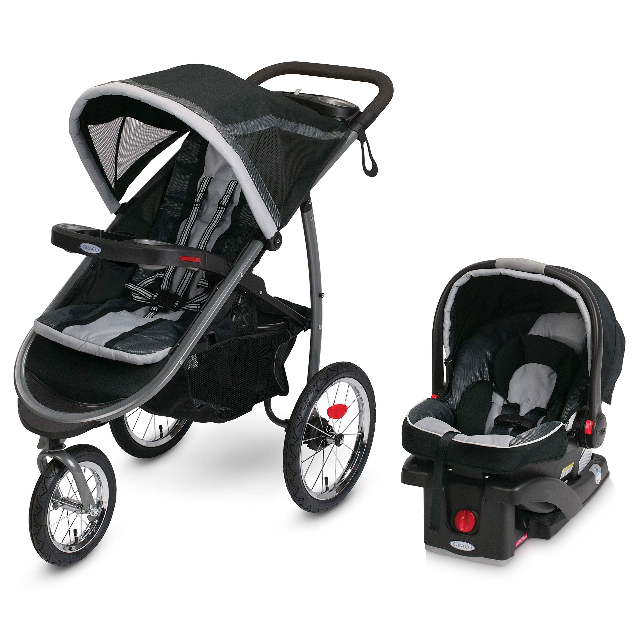 Graco FastAction Fold Jogger Travel System | Includes the FastAction Fold Jogging Stroller and SnugRide 35 Infant Car Seat, Gotham by Graco