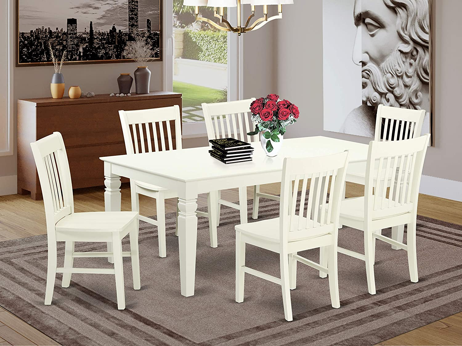 7 Pc Dining Set With One Logan Dinning Table And Six Wood Kitchen Chairs Finished In A Rich Linen White Color.