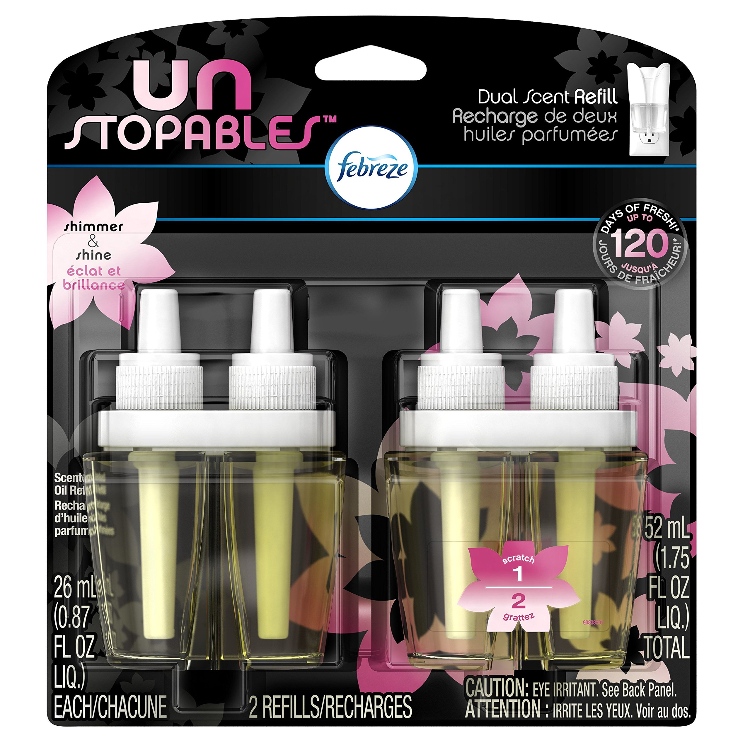 Febreze Unstoppables Shimmer Pluggable Scented Oil Refills Air Freshener, 2 ct