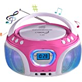 CD-Player mit LED-Beleuchtung   Tragbares Stereo Radio   Kinder Radio   Stereo Radio   Stereoanlage   USB   CD/MP3 Player   Radio   Kopfhöreranschluss   Aux in   LCD-Display   (Pink mit LED)
