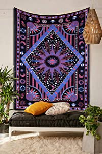 THE ART BOX Aesthetic Room Decor Bedroom Wall Decor Trippy Tapestry Indie Aesthetic Sun Moon Wall Decor Hippie tie dye Tablecloth Psychedelic Bedspread, 100% Cotton, Pink And Purple , 135x150 Cms