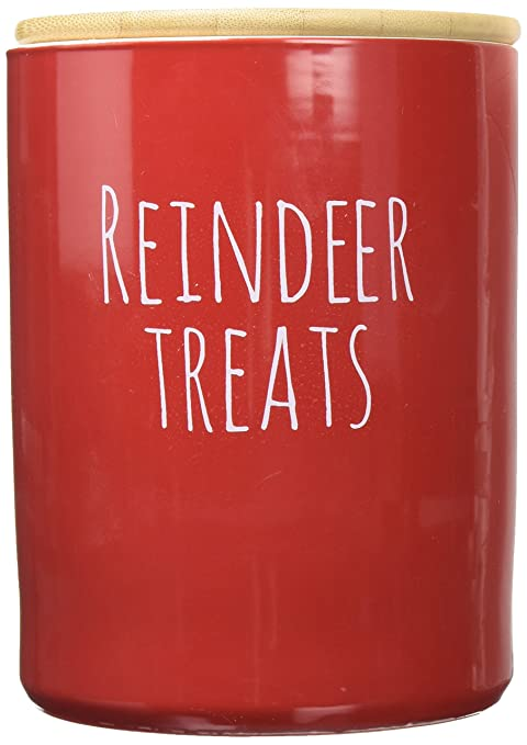 Creative Co Op 7.5u0026quot;H Stonewareu0026quot;Reindeer Treatsu0026quot; Red Kitchen  Canister With