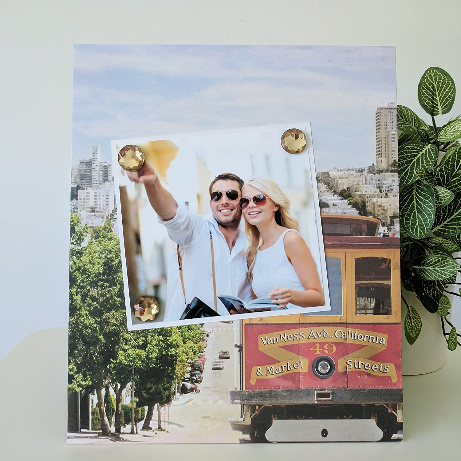 Vacation Travel Romantic Getaway Big City Urban Handmade Gift Present Home Decor Magnetic Picture Frame Size 9 x 11 Holds 5 x 7 Photo San Francisco Cable Car