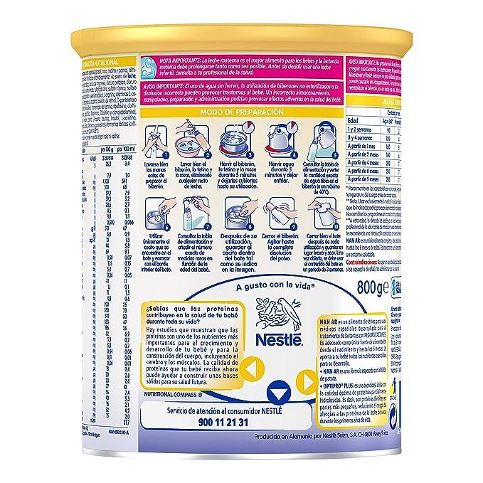 NAN A.R. - Alimento en polvo para lactantes con regurgitaciones - Desde el primer día - 800g: Amazon.es: Alimentación y bebidas