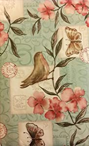 Birds and Butterflies Among Flowers Flannel Backed Vinyl Tablecloth (60 Inch Round)