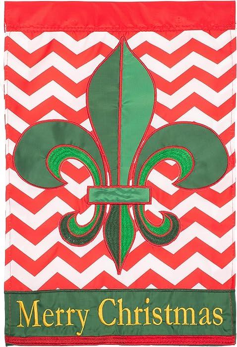 Merry Christmas Red and Green Chevron 18 x 13 Spun Polyester Outdoor Garden Flag