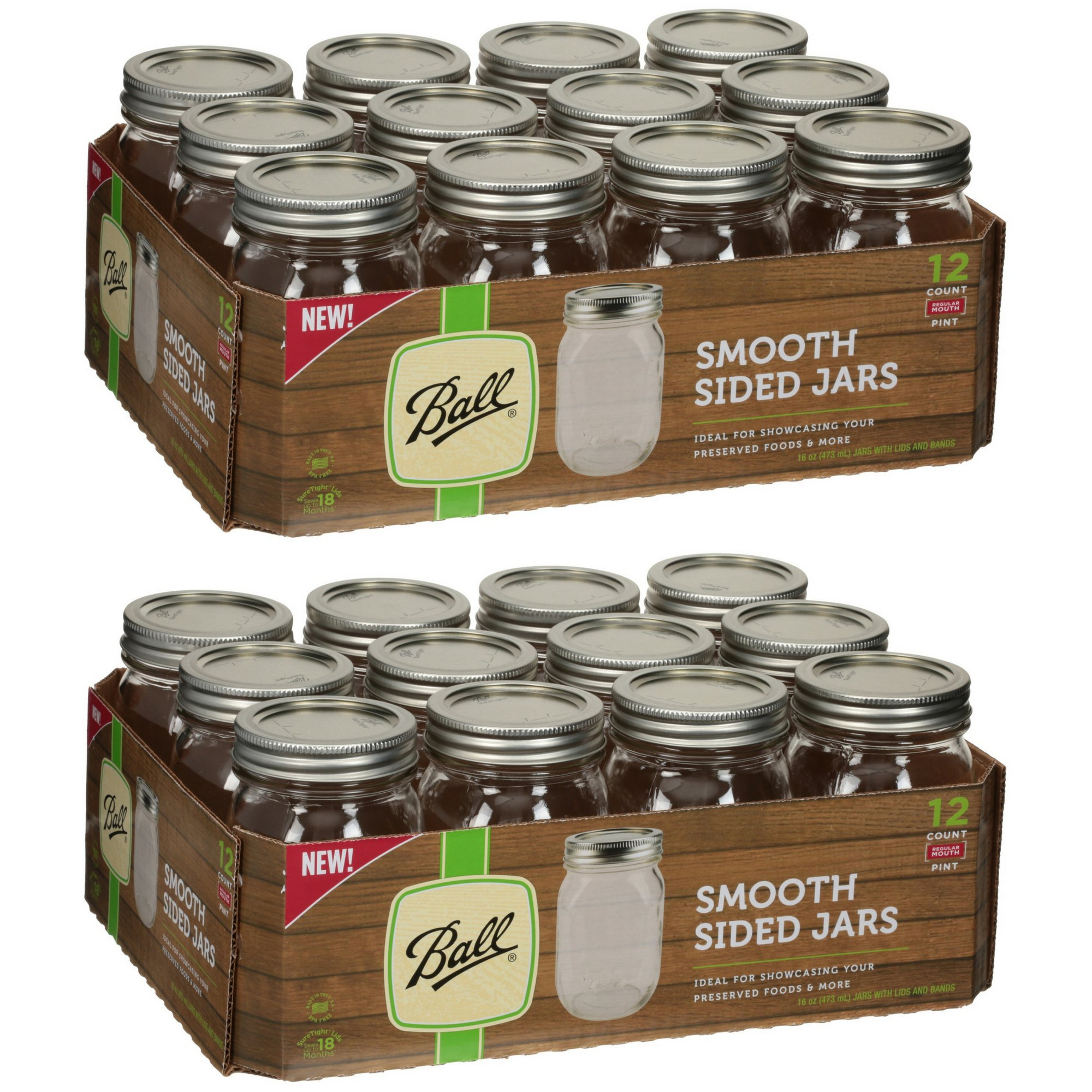 Ball Regular Mouth Pint Jars 12 Count (16 OZ) Made in USA Brand New and Fast Shipping (2 Pack)