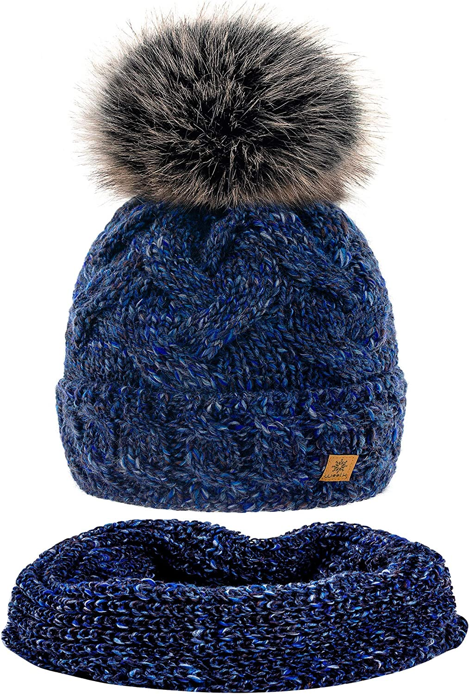 MFAZ Morefaz Ltd Set Cappello /& Sciarpa Donne Beanie Cappelli Invernale Lana Mohair Collo a Maglia in Pile Cappello Pom Pom