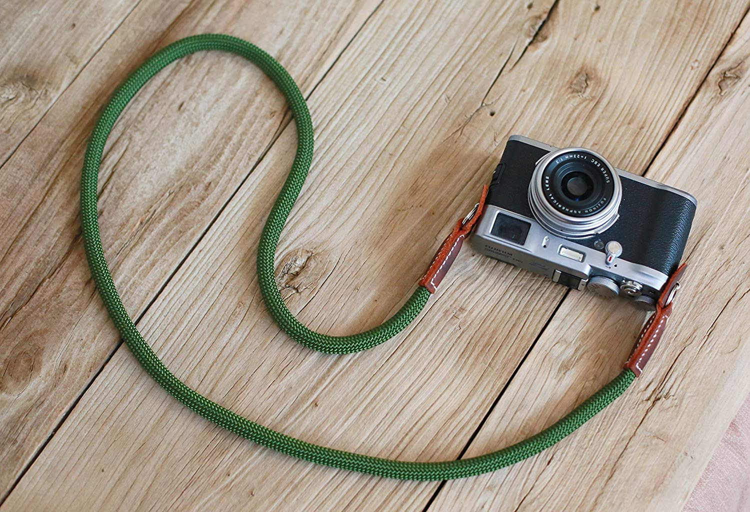 Army Green climbing rope camera neck shoulder strap, from windmup, Brown leather, 100% handmade, 10mm,strong,A type,Customizable
