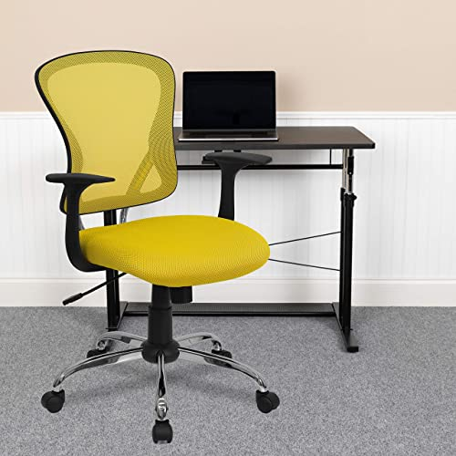 EMMA OLIVER Mid-Back Yellow Mesh Swivel Task Office Chair