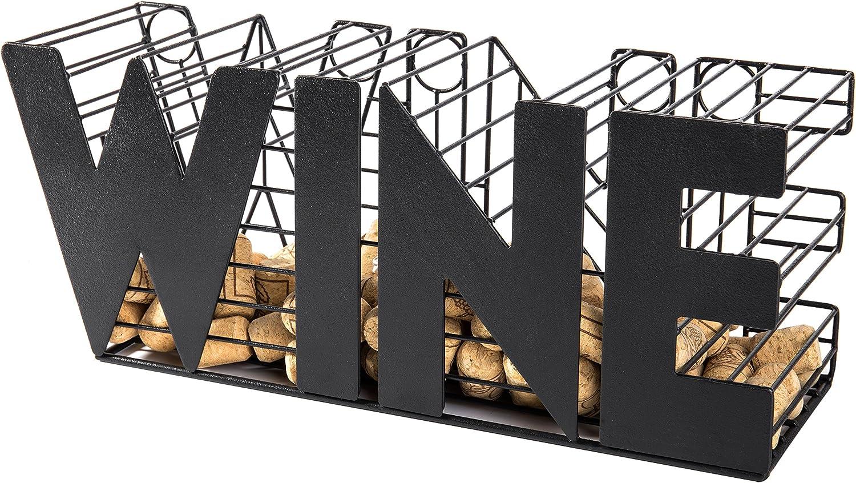 MyGift 14-Inch Decorative Black Metal Mesh Wine Cork Holder Basket