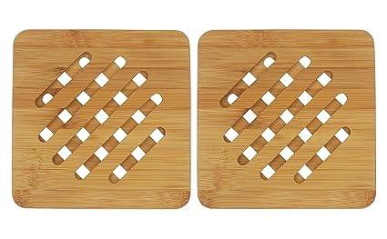 bamboo trivet bambri kitchen bamboo hot pads trivet heat resistant pads teapot trivet - Kitchen Hot Pads