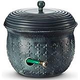 Garden Hose Holder Storage Pot Copper with Lid Antique Green Finish Lattice Steel Updated for November 2020 (Green)