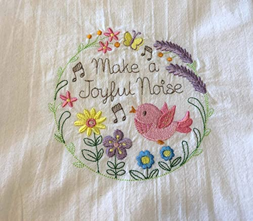 Embroidered flour sack tea towel dish towel It is well with my soul bird in nest machine embroidery