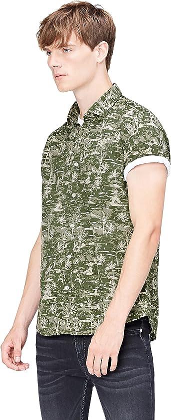 find. Camisa de Manga Corta con Estampado Tropical Hombre ...