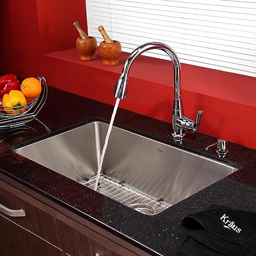 30 pulgadas Undermount solo Bowl fregadero de acero inoxidable con grifo de la cocina cromado y dispensador de jabón: Amazon.es: Bricolaje y herramientas