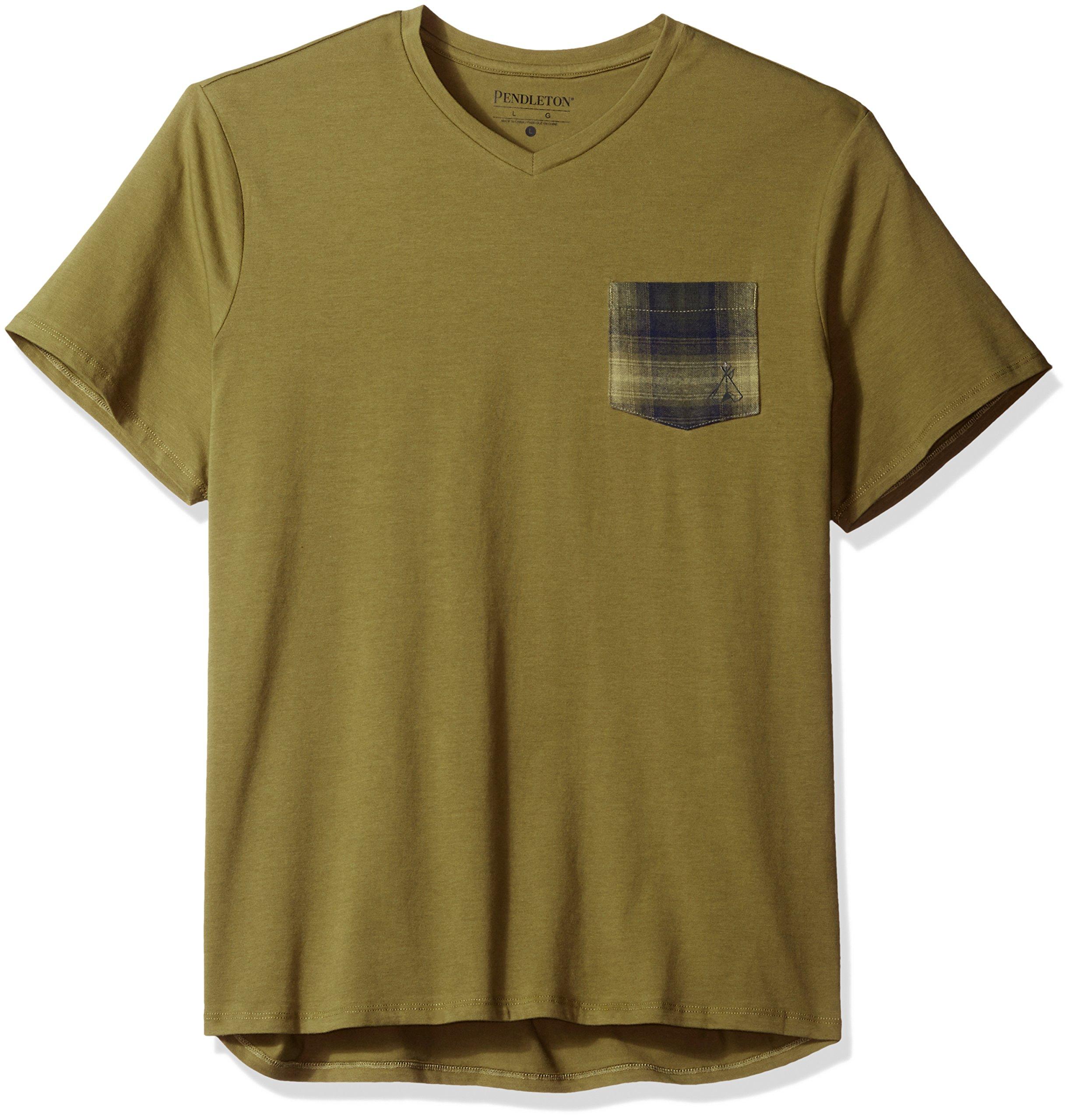 Pendleton Men's Short Sleeve Pocket Tee, Olive, Large