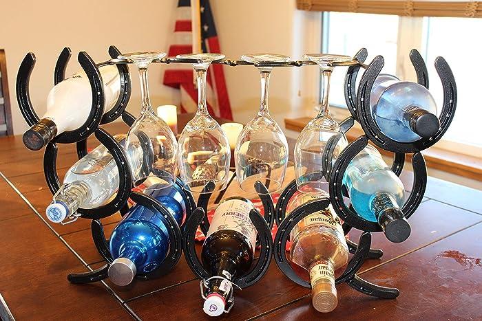 Amazoncom Horseshoe Wine Rack Holds 7 Bottles And 4 Glasses Handmade