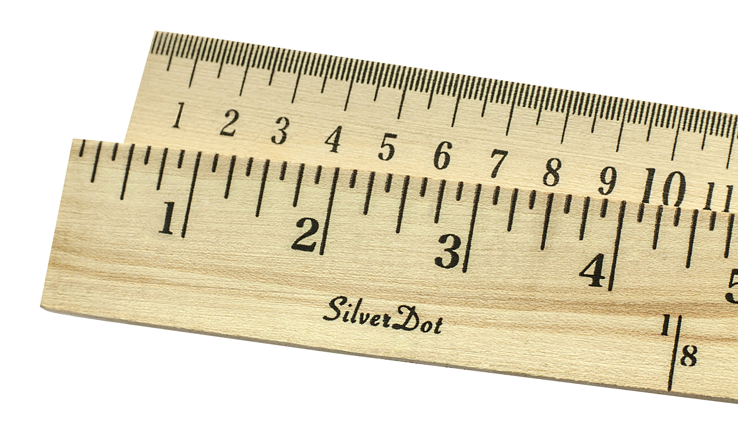 SilverDot 10-Pack Wood Yardstick (Double-Sided with Inches & Centimeters, 1/5'' Thick, Hanging Hole)