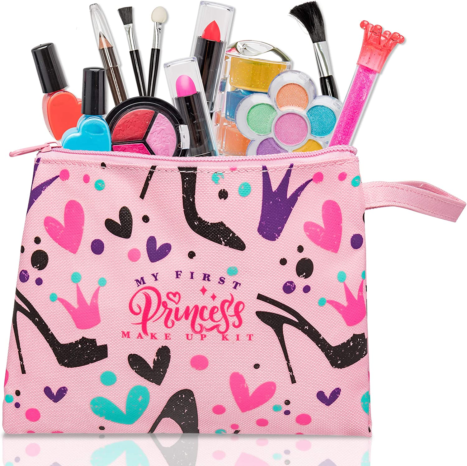 My First Princess Make Up Kit - 12 Pc Kids Makeup Set - Washable Pretend Makeup For Girls
