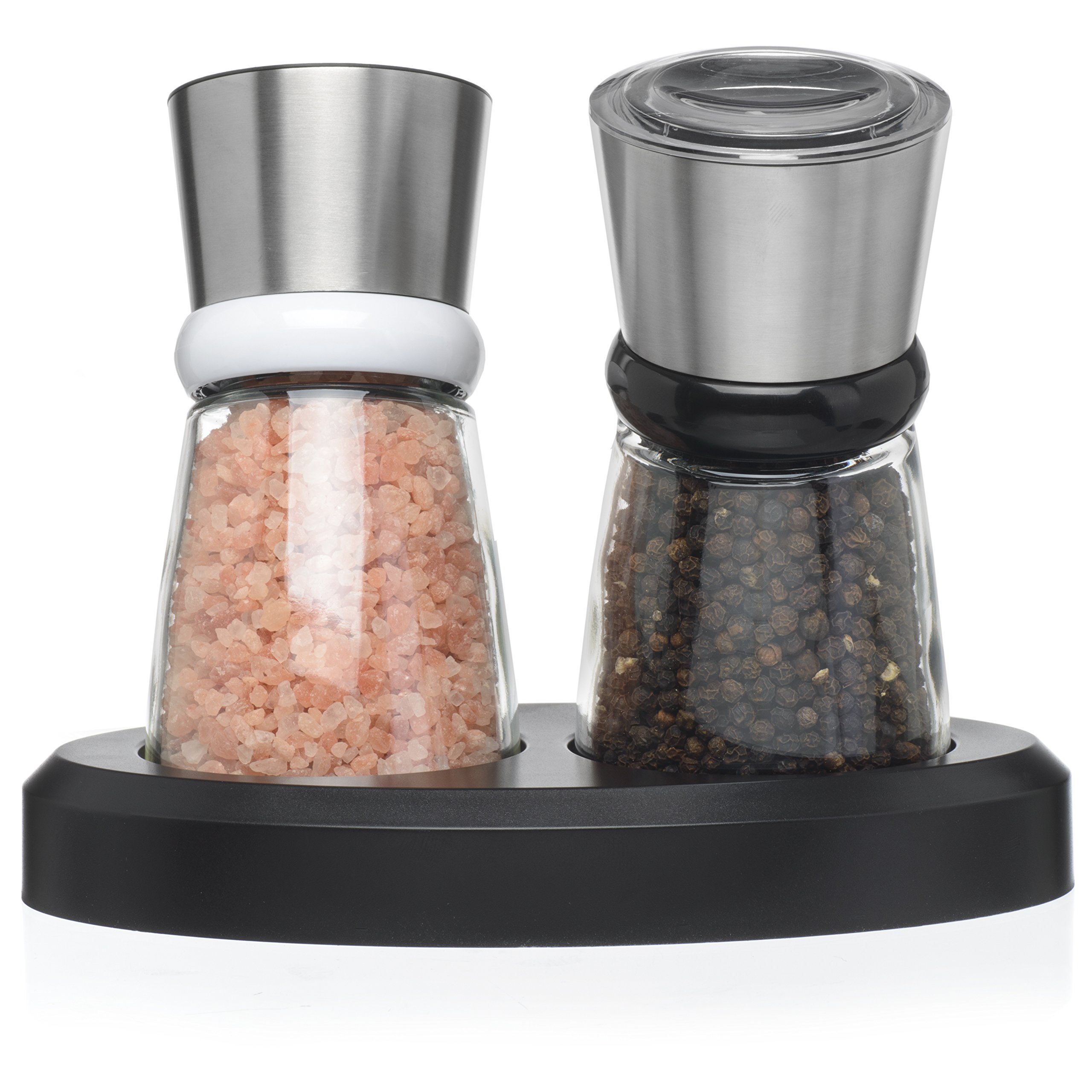 Salt and Pepper Shakers - Salt n Pepper Grinder Set, Adjustable Grind Coarseness, Tilted Base Design, Premium Brushed Stainless Steel Top, Great Christmas Mother's Day Gift Idea (S&P SSteel Tilted)